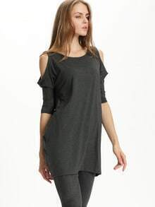 Grey Round Neck Cold Shoulder Dress