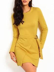 Yellow Long Sleeve Round Neck Dress