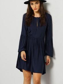 Blue Long Sleeve Pleated Dress