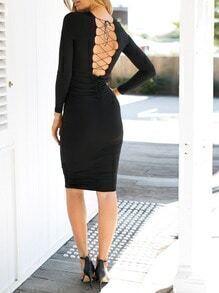 Black Long Sleeve Lace Up Dress