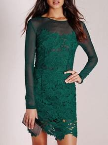 Green Long Sleeve With Lace Dress