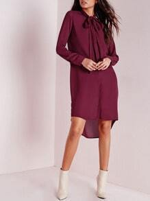 Burgundy Long Sleeve High Low Dress