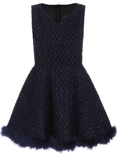 Navy V Neck Sleeveless Brilliant Dress