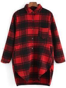 Red Black Lapel Plaid Pocket Loose Blouse