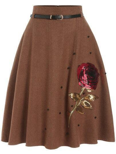 Brown Bead Sequined Skirt