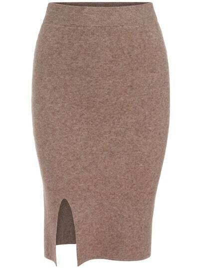 Camel Slim Split Knit Skirt