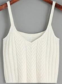 White Spaghetti Strap Sweater Cami