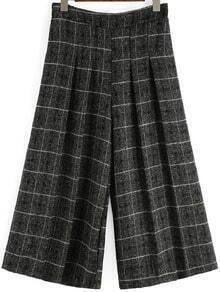 Black Plaid Wide Leg Pant