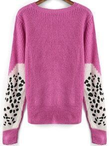 Red Round Neck Spot Sleeve Knit Sweater