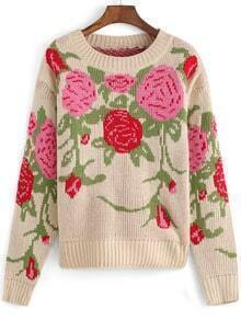 Multicolor Round Neck Floral Crop Knit Sweater