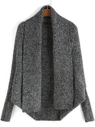 Grey Batwing Sleeve Knit Cardigan