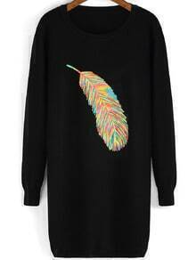Black Round Neck Feather Pattern Sweater