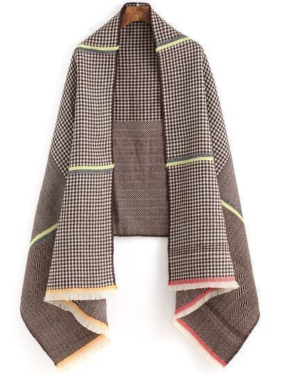 Coffee White Diamond Patterned Fringe Scarve