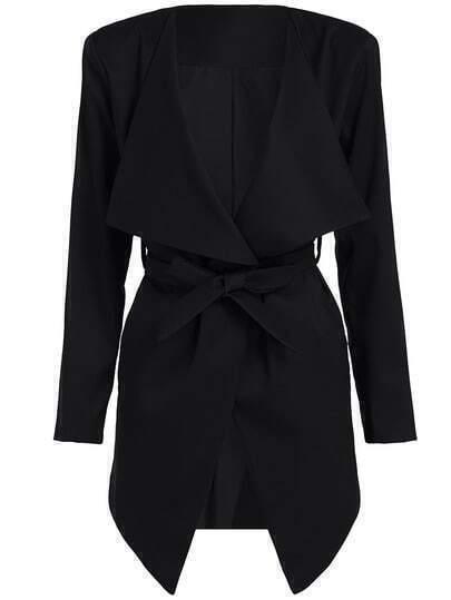 Black Long Sleeve Tie-Waist Coat