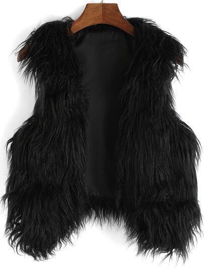 Black Dip Hem Faux Fur Vest