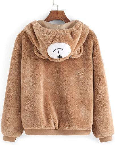 Light Brown Hooded Faux Fur Cute Coat