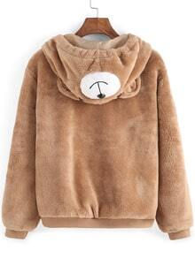 Light Brown Hooded Faux Fur Cute Coat