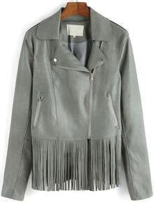 Grey Lapel Oblique Zipper Tassel PU Jacket
