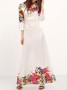 White Round Neck Florals Maxi Dress