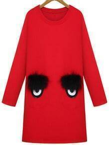 Red Round Neck Eyes Pattern Straight Dress