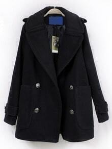 Navy Lapel Double Breasted Coat