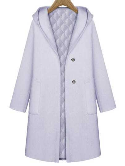 Grey Hooded Pockets Long Coat