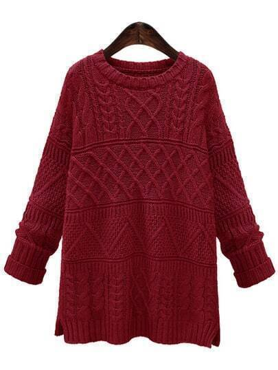 Red Cable Knit Slit Sweater