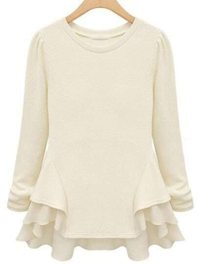 White Long Sleeve Ruffle T-Shirt