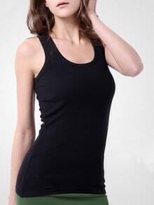 Black Round Neck Slim Tank Top