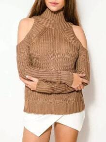 Khaki High Neck Cold Shoulder Crop Sweater