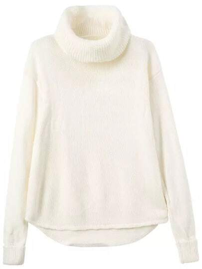 White High Neck Long Sleeve Loose Sweater