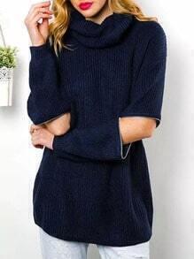 Navy High Neck Zipper Loose Sweater