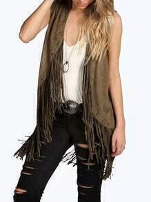 Green Sleeveless Tassel Slim Vest