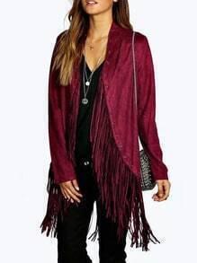 Rose Red Long Sleeve Tassel Loose Coat