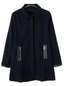 Black Lapel Zipper Pockets Woolen Coat