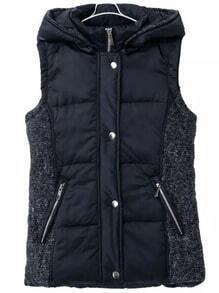 Navy Hooded Zipper Pockets Vest