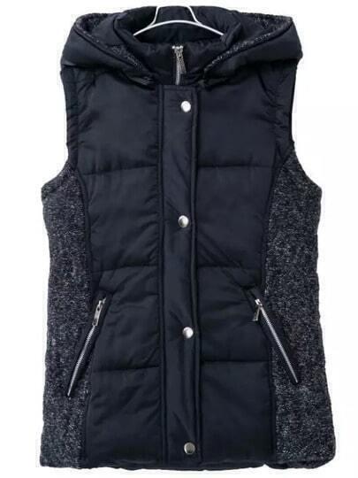 Navy Hooded Zipper Pockets Vest