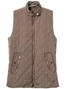 Brown Sleeveless Quilting Diamond Patterned Vest