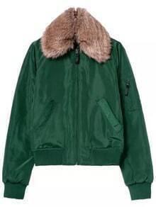 Green Faux Fur Collar Pockets Crop Coat