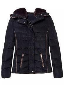 Navy Faux Fur Hooded Zipper Pockets Coat