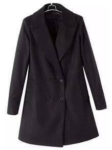 Black Lapel Double Breasted Woolen Coat