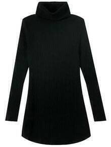 Black High Neck Long Sleeve Slim Sweater Dress