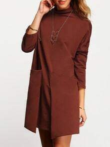 Orange Pockets Casual Dress