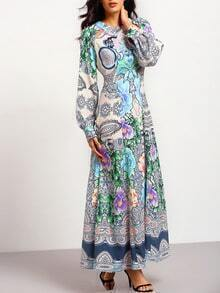 Multicolor Long Sleeve Floral Maxi Dress