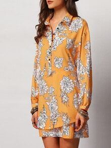 Yellow Long Sleeve Floral Dress