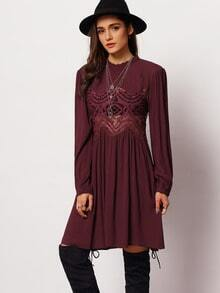 Burgundy Long Sleeve Hollow Dress
