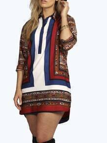 Multicolor Lapel Vintage Print Dress