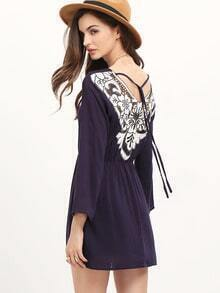 Blue Long Sleeve Hollow Dress