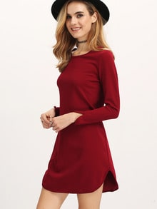 Burgundy Long Sleeve Backless Straight Dress