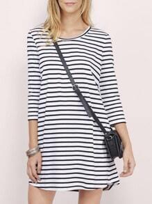 White Black Round Neck Striped Dress